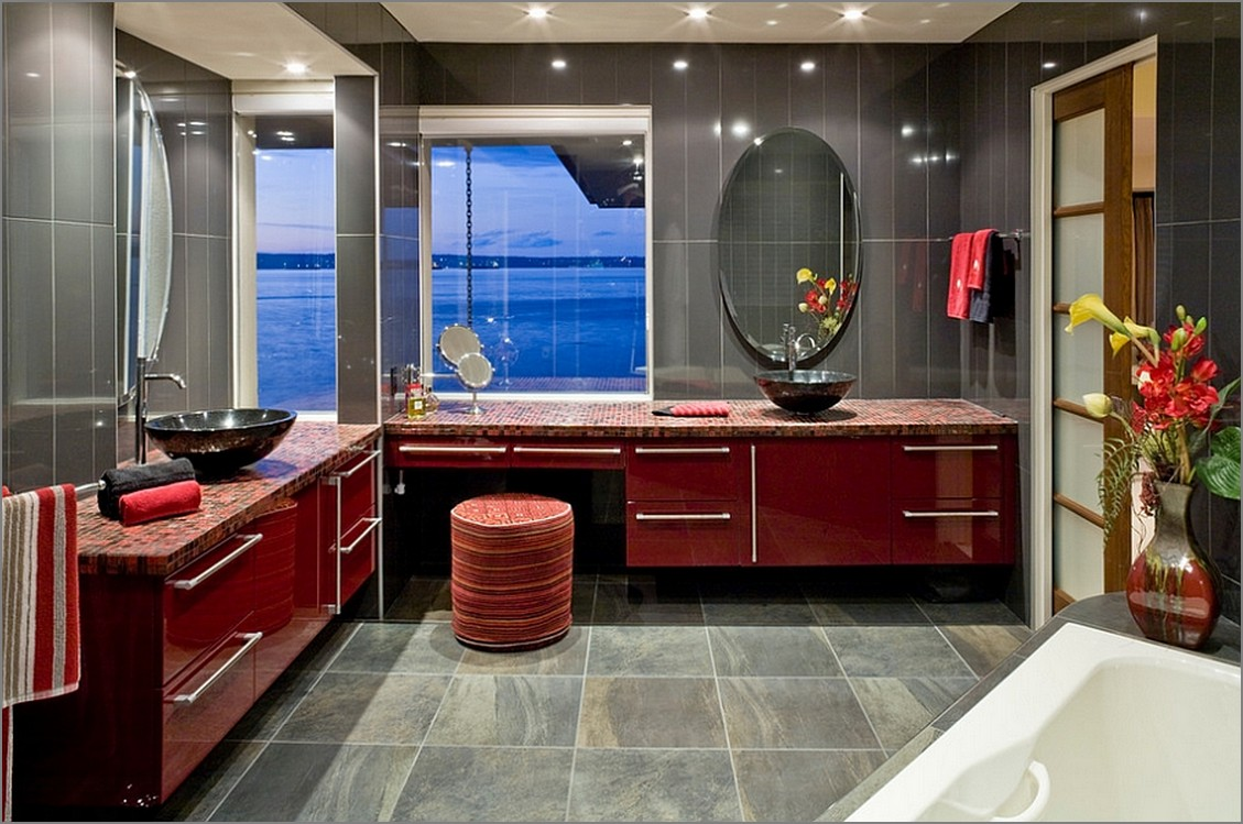 bold red his & hers bathroom sink | lovelyspaces.com