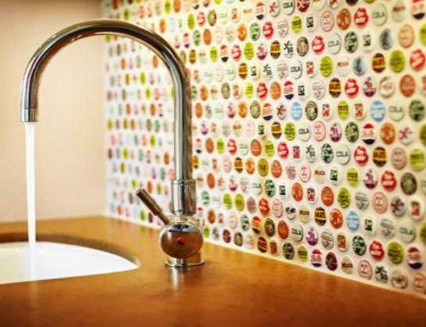 bottle caps backsplash | lovelyspaces.com