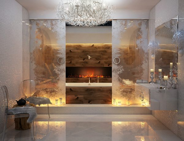 glamorous-bathroom-design-ideas-with-fireplace-and-white-bathtub-which-has-double-glass-sliding-doors-and-beautiful-chandelier-as-well-as-floating-white-lacquered-washing-stand-under-frameless-wall-mi