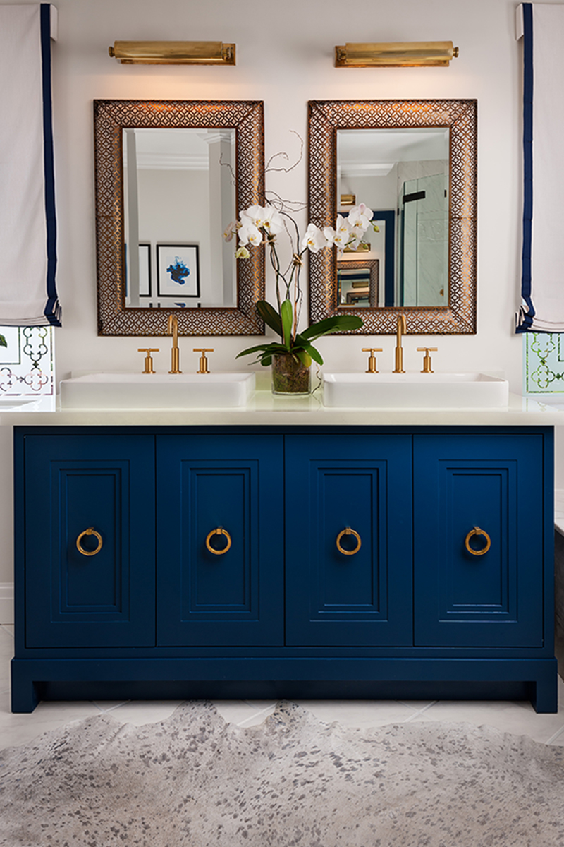 midnight blue his & hers bathroom sink | lovelyspaces.com