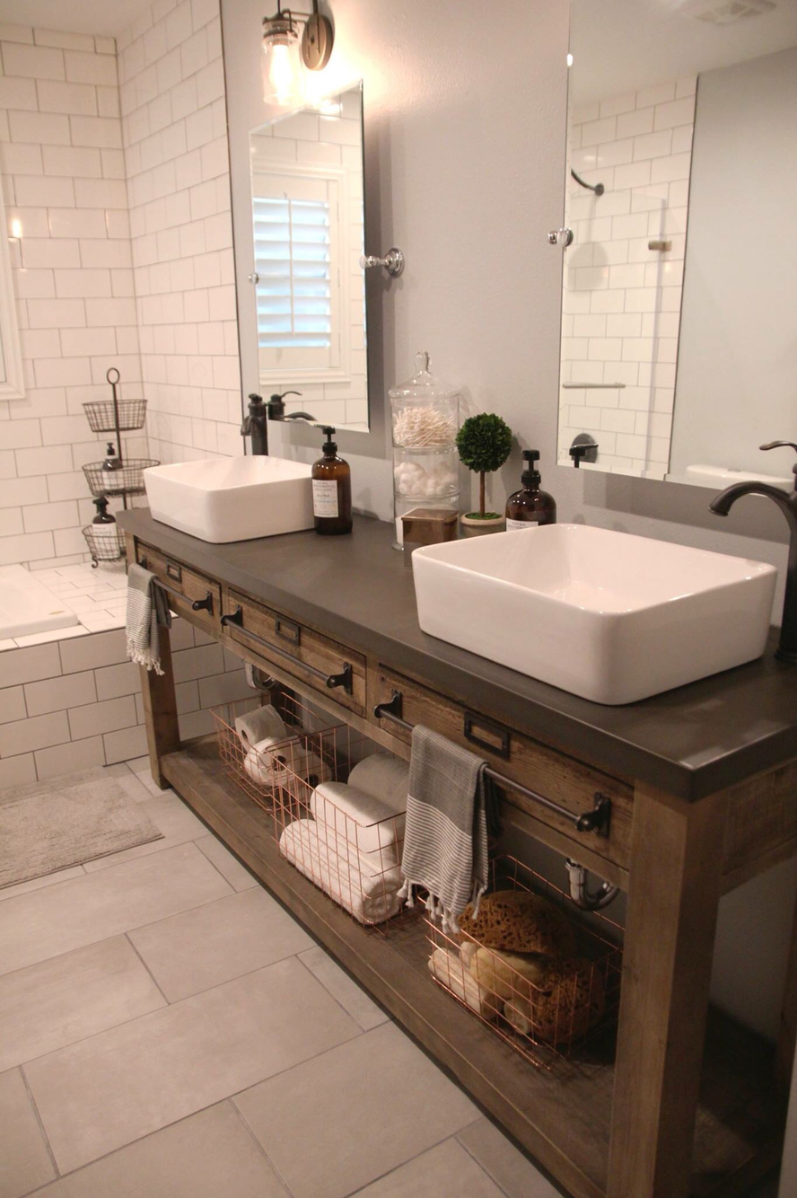 open shelves his & hers bathroom sink | lovelyspaces.com