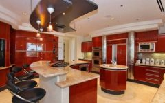 red kitchen island with seating   lovelyspaces.com