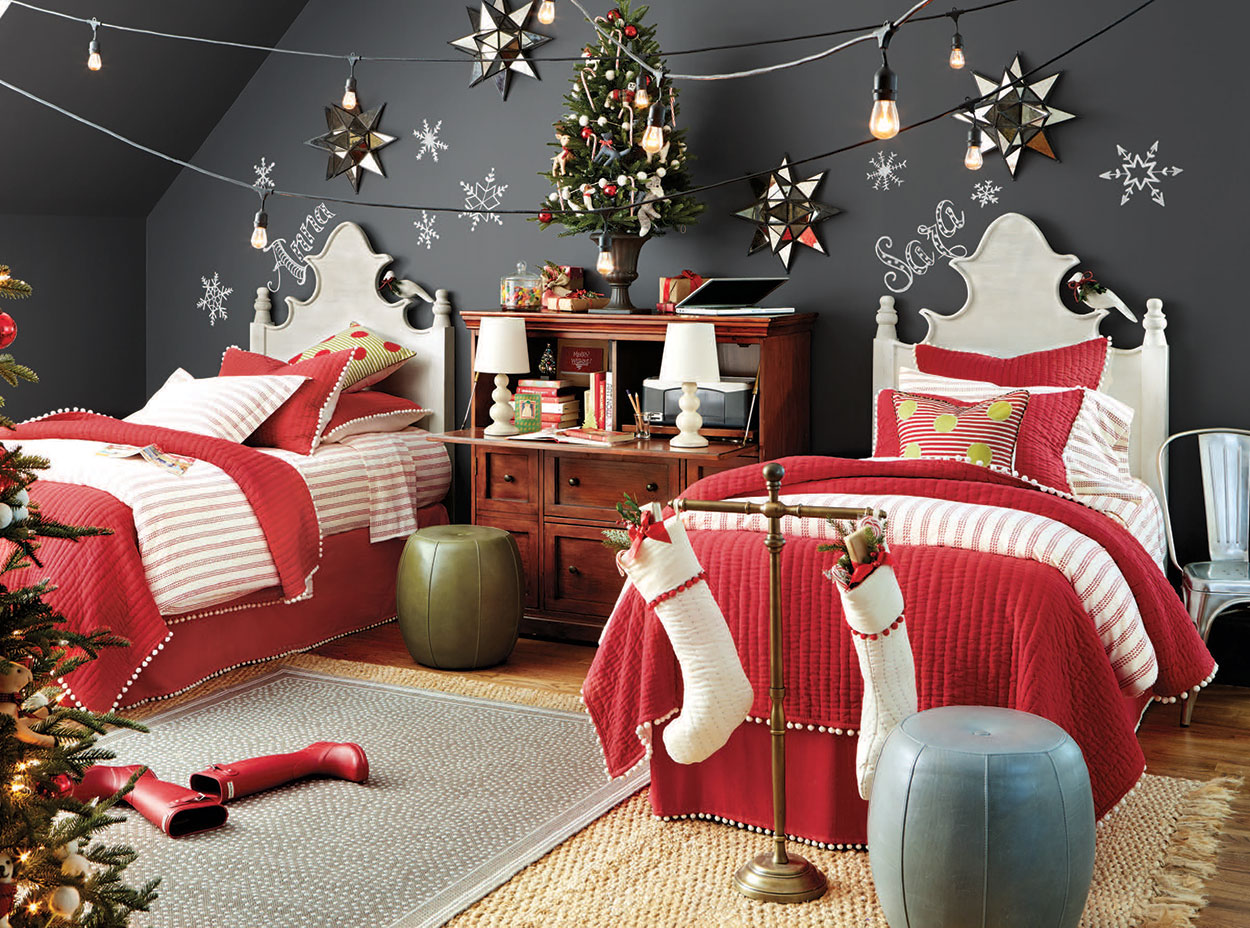 stringed lights in Christmas DIY decorations for kids bedrooms | lovelyspaces.com