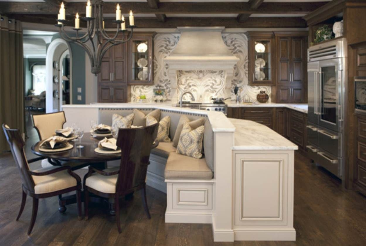 L-shaped kitchen island with seating | lovelyspaces.com