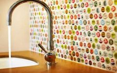 bottle caps backsplash | lovelyspaces.com