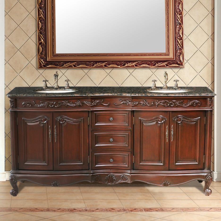 his & hers cherry wood bathroom sink   lovelyspaces.com