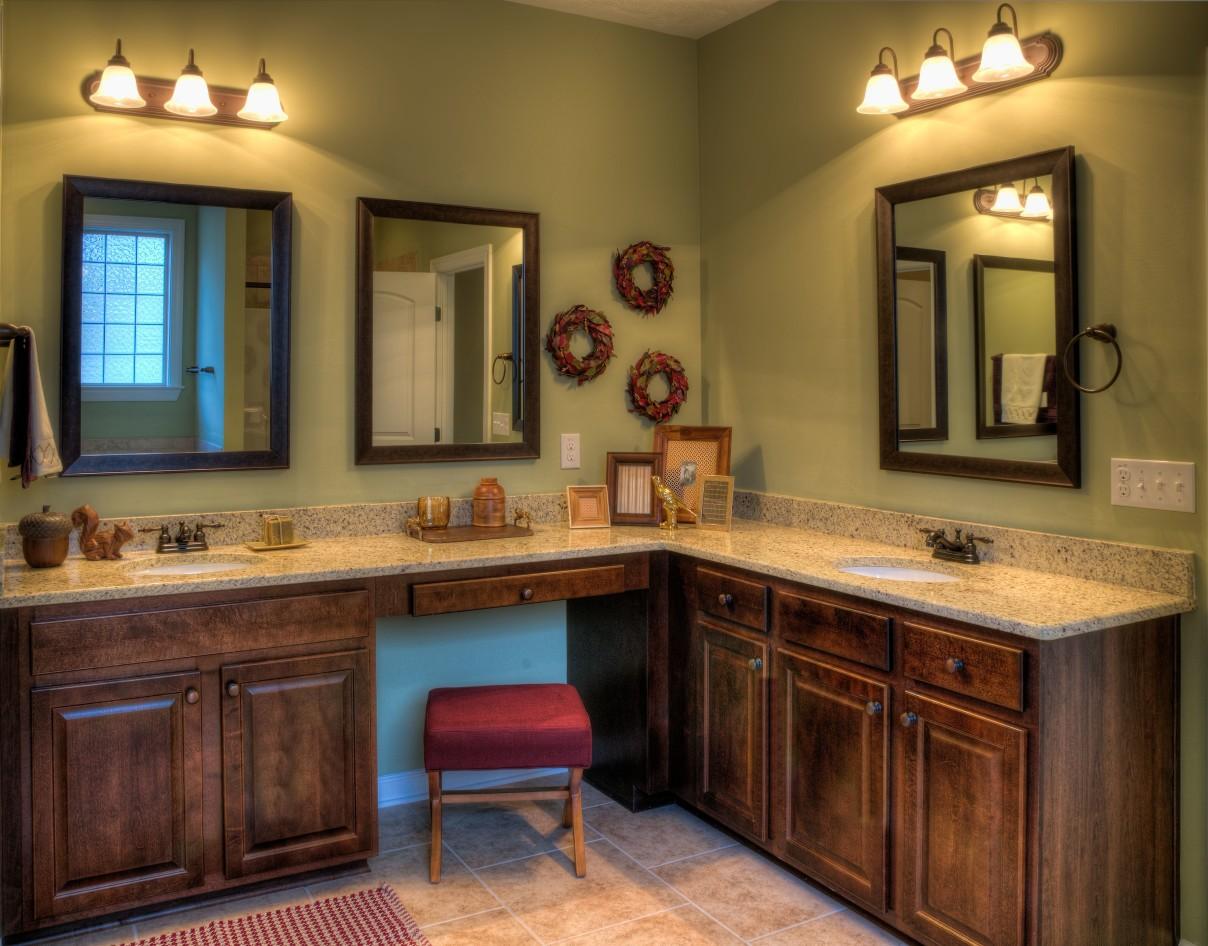 dark wood earthy his & hers bathroom sink   lovelyspaces.com