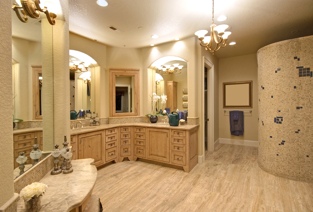 luxurious pastel walls his and hers bathroom sink   lovelyspaces.com