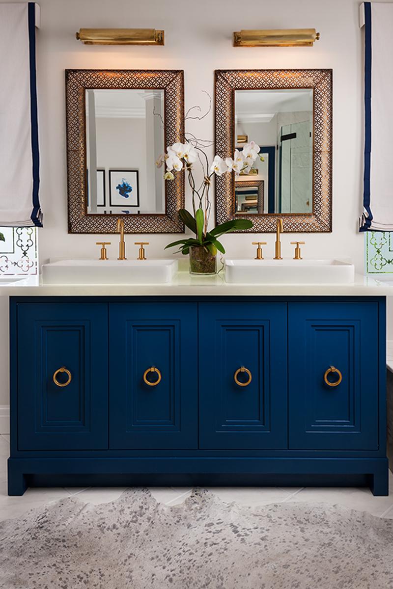 midnight blue his & hers bathroom sink   lovelyspaces.com