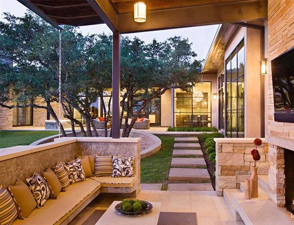 outdoor brick fireplace | lovelyspaces.com