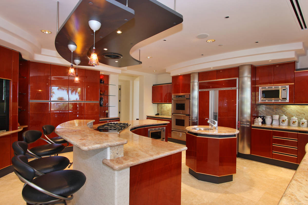 red kitchen island with seating | lovelyspaces.com