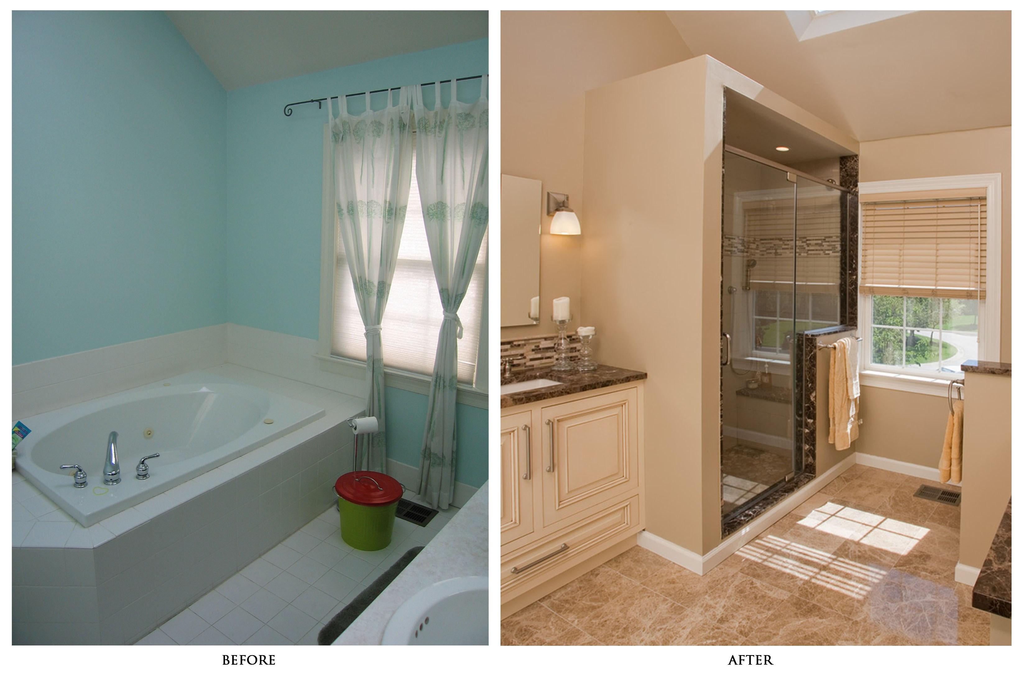 tub to shower bathroom remodeling ideas | lovelyspaces.com