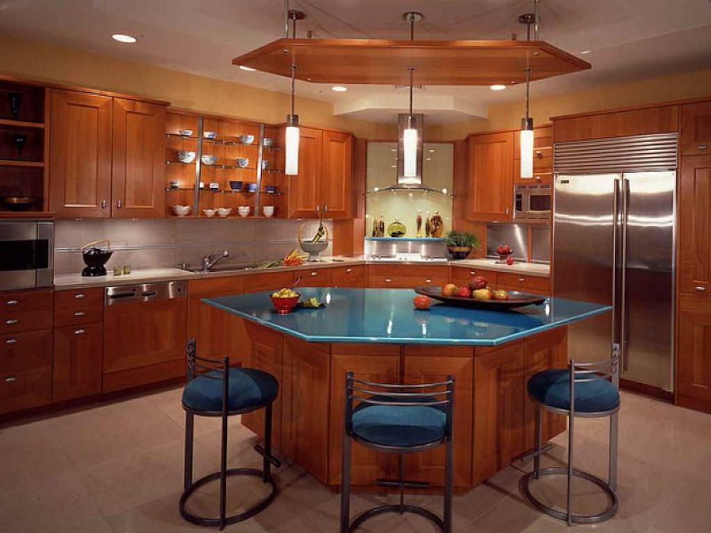 small blue kitchen island | lovelyspaces.com